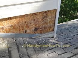 wood siding repair. Chimney Flashing Leak Repair: Bottom Row Of Lap Siding Wood Repair