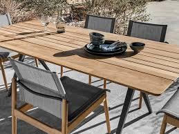 gloster split teak outdoor dining table