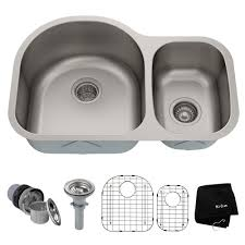 kraus premier undermount stainless steel 30 in 60 40 double bowl kitchen sink
