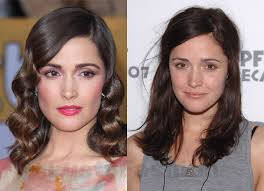 rose byrne with makeup and without makeup