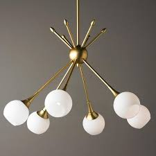 midcentury modern mobile chandelier 6 lt golden brass or brushed nickel rods and opal glass globes brings a midcentury modern cer of lights to your