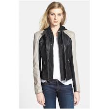 lamarque women s leather biker jacket with removable hooded insert