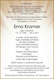 Traueranzeigen von Erna Kramer   nordwest-trauer.de