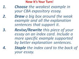 expository essay examples and explanations ppt video online  choose the weakest example in your cba expository essay