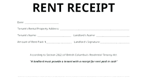 Rental Receipt Templates Doc Excel Free Premium Rent