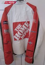 nascar tony stewart home depot leather jacket by wilsons xl white