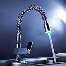 Single Handle Pull Down Kitchen Faucet with Color Changing LED