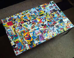 comic book furniture. Comic Book Furniture Decoupage Style Wood Art Collage Ideas Repainting Geeky Housing
