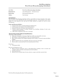Resume For Housekeeping Job Job Description Housekeeper Jd Templates Templateume Housekeeping 23