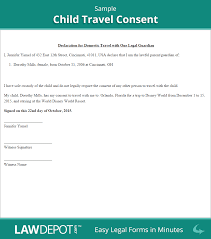 Child Travel Consent | Free Consent Form (Us) | Lawdepot