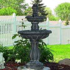 This Black Ball Pedestal Solar Powered Water Fountain W Light Solar Powered Water Feature With Lights