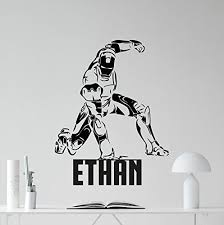 Personalized Superheroes Personalized Iron Man Wall Decal Custom Name Superhero Avengers Poster Marvel Comics Tony Stark Superheroes Vinyl Sticker Cool Movie Wall Art Kids