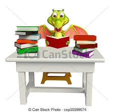 cute dragon cartoon character with table and chair and book stack csp35599074