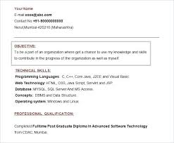 Simple Objectives For Resume Doc Format Fresher Resume Template Free