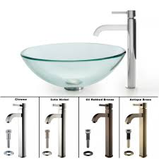 kraus c gv 101 12mm 1007ch clear glass vessel sink and ramus faucet chrome