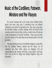 There are aproximately 140 ethnic groups. Music Of Car Pdf Music Of The Cordillera Palawan Mindoro And The Visayas Our Country Is Blessed With A Rich Musical Culture Different Ethnic Groups Course Hero