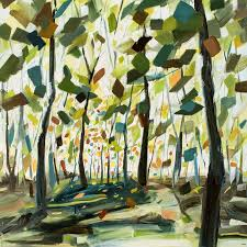 abstract tree painting with spring colors brown trunks green yellow orange leaves by