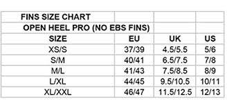 Cressi Pro Light Size Chart Cressi Pro Light Open Heel Diving Fin