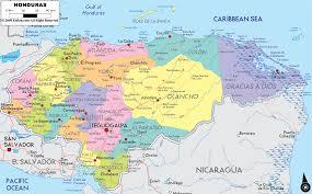 detailed political map of honduras  ezilon maps