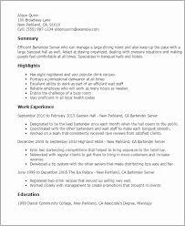 Example Of Cv Bartender Cv Sample Server Bartender Resume