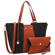 com women large designer laptop tote bag two tone handbag work tote bag satchel purse w matching wallet black brown shoes