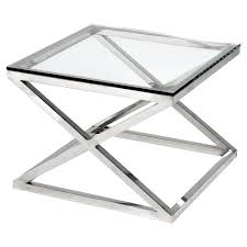 eichholtz criss cross modern classic square silver glass side table kathy kuo home