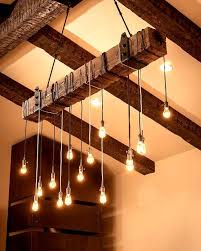 reclaimed wood beam chandelier rustic chandeliers by faux wood beam chandelier