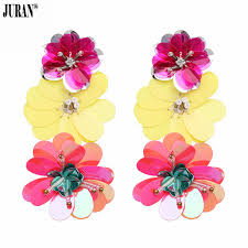 JURAN Hot Sale Candy Color <b>Sequins Flowers Long</b> Earrings for ...