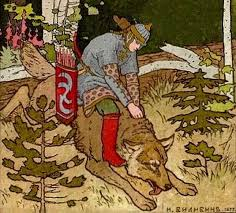 This is a scene from Tsarevitch Ivan, the Fire Bird and the Gray Wolf. This  is the scene where Tsarevich Ivan rides the wolf th… | Fire bird, Norse  myth, Very scary
