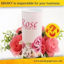 Paper Flower Business Round Tea Canister Food Grade Kraft Paper Flower Design Packaging
