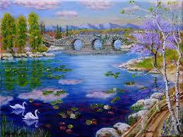 stone bridge swan lake by marc rast