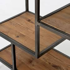Bookcase Table Geometric Reclaimed Pine Wood Iron Bookcase 84 Zin Home