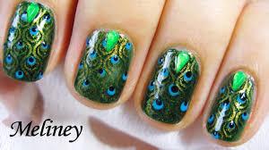 KONAD STAMPING NAIL ART - EMERALD PEACOCK NAILS DESIGN - Green ...