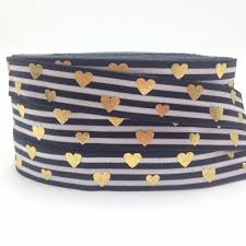 Us 3 93 21 Off High Quality Gold Foil Love Heart Fold Over Elastic Black Stripe Print 5 8 Foe Ribbon For Elastic Hair Band Hair Accessory 10y In