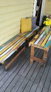 reclaimed wood pallet bench. Pallet Outdoor Set Patio Furniture Diy Recycled Clothing Ideas Crafts Reclaimed Wood Bench O