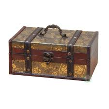 Decorative Leather Treasure Trunk Box - Free Shipping On Orders Over $45 -  Overstock.com - 16895773