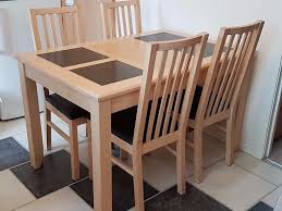 Maple Kitchen Table And Chairs Dining Table And 4 Chairs Light Maple Wood With Grey Granite