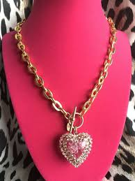 details about tarina tarantino fizzy bubble pink lucite swarovski crystal puffy heart necklace