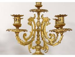 pair candelabra 5 lights gilt bronze porcelain polychrome art nouveau xixth