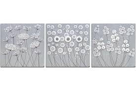 wall art gray and white flower set of three