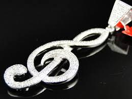 al treble clef diamond pendant in silver white gold primary
