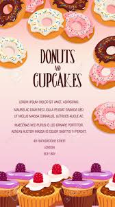 Cupcake And Donut Pastry Dessert Banner Bakery Shop Or Cafe