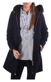 ted baker womens kalissa wool parka with faux fur hood navy