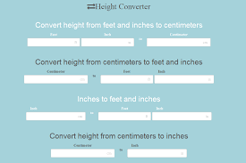 Height Conversion Chart Cm To Feet And Inches Height Converter