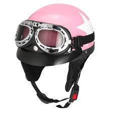 retro pink motorcycle half face helmet biker scooter with sun visor uv goggles cafe racer