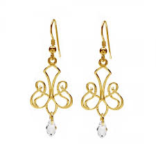 chandelier earrings with crystal silver 925 rhodium or gold plated