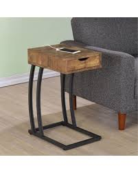 coaster furniture metal and wood cshaped accent table c shaped end table3