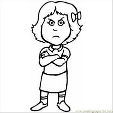 Small Picture Pouting Girl Coloring Page Free Emotions Coloring Pages