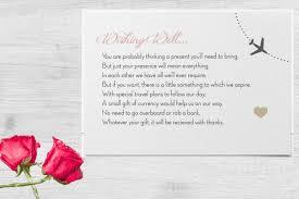 destination wedding invitation wording exle for gifts