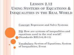 lesson 2 12using systems of equations inequalities in the real world
